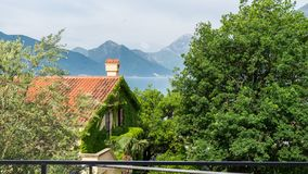 Building covered by ivy leaves and flowers. Tree and green mountains in Lake. Orange tiles in a house with chimney in Kotor bay. Montenegro. Creeper in facade royalty free stock photography