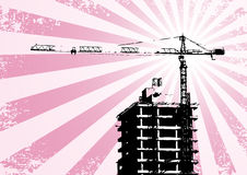 Building and crane. Silhouette - building and crane (grunge, vector, illustration