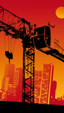 Building Crane. City Illustration sunnset Royalty Free Stock Photo
