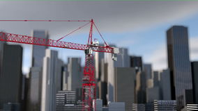 Building crane animation , city background, skyscraper landscape view. Metal construction stock video footage