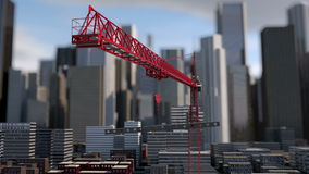 Building crane animation , city background, skyscraper landscape view. Metal construction stock video
