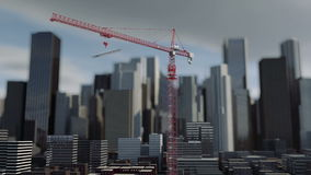 Building crane animation , city background, skyscraper landscape view. Metal construction stock footage