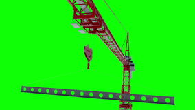 Building crane animation, work process. Green screen footage. Alpha channel.  stock video footage