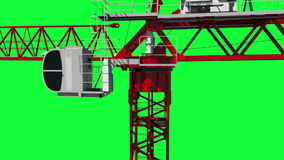 Building crane animation, work process. Green screen footage. Alpha channel.  stock footage