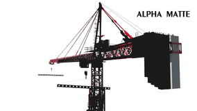 Building crane animation, work process. Green screen footage. Alpha channel stock footage