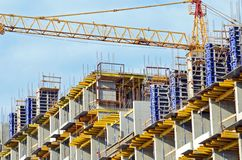 Building crane and building under construction Royalty Free Stock Images