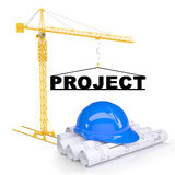 Building crane with construction project Stock Photo