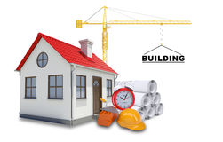 Building crane with house Royalty Free Stock Photos