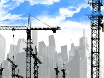 Building cranes on a background of city. Collage on subject matter of construction in city centre Royalty Free Stock Image