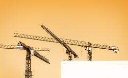 Building cranes and billboard Royalty Free Stock Photos