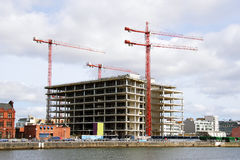 Building cranes  and building house Royalty Free Stock Photo
