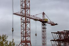 Building with Cranes Stock Images