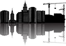 Building, cranes and reflection. Illustration with house building, cranes and reflection Royalty Free Stock Photography