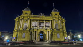 The building of the Croatian National Theater night timelapse hyperlapse. Croatia, Zagreb.