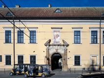 Building of the Curia of the Cracow Bishops, Franciszkanska Street. A meeting place with the Pope. On the façade of the so-called. Krakow, Poland - January 4 stock photo