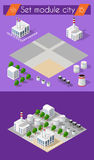 Building 3D industry. Construction for isometric infographics of flat design with urban landscape and industrial factory buildings and vector illustration royalty free illustration