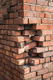 Building Damage. Damage to the corner of a brick building Royalty Free Stock Photography
