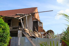A building damaged by the earthquake 2009 in Padang, West Sumatra Stock Photos