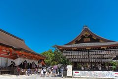 Building of a dance stage with hundreds of lanterns at Yasaka or Gion Shrine stock images