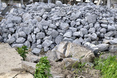 Building debris - the broken stones of the destroyed building Royalty Free Stock Photography