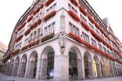 Building decorated by flowers. Munich. Germany. Royalty Free Stock Photo