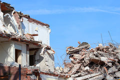 Building demolition. Rubble at a building demolition site Royalty Free Stock Photos