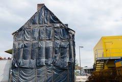 Building demolition. Demolition of buildings in the city royalty free stock photos