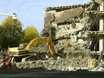 Building Demolition-Collapse. Demolition of Building in Sacramento, California Stock Image