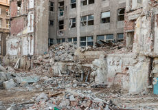 Building demolition after earthquake Stock Photo