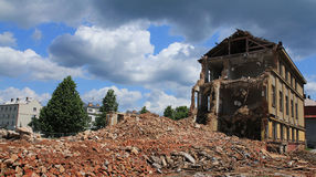 Building demolition. Image of a building in the process of demolition stock photo
