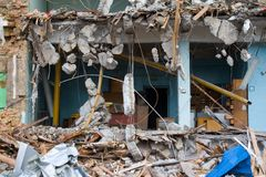 Building demolition results. Room section in the half-destroyed building Stock Images