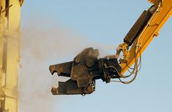 Building demolition shear. Looks like a monster or godzilla or a face royalty free stock photos