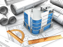 Building design. 3d illustration of modern building design project Royalty Free Stock Photography