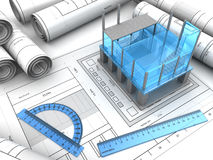 Building design. 3d illustration of modern building design project Stock Photo