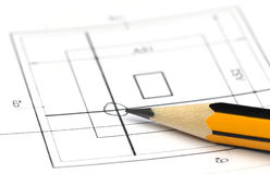 Building design with pencil Royalty Free Stock Photo