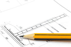 Building design with pencil Royalty Free Stock Photography