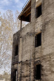Building destroyed and damaged by fire EMS training Royalty Free Stock Image