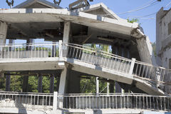 Building destroyed after  earthquake Stock Images