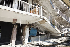 Building destroyed after  earthquake Royalty Free Stock Images