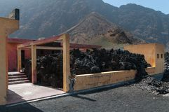 Building destroyed by lava flow, Fogo Island, Cape Verde stock images
