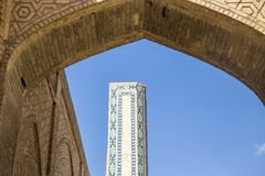 Building details. The Mosque Kalyan. One of the oldest and largest Mosque in Central Asia. Main cathedral mosque of Bukhara. Uzbekistan, Central Asia stock photo