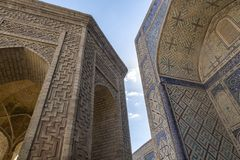 Building details. The Mosque Kalyan. One of the oldest and largest Mosque in Central Asia. Main cathedral mosque of Bukhara. Uzbekistan, Central Asia royalty free stock photos