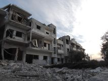 Homs city in Syria. A building devastated by war stock photography