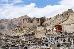 Building development in Lech with the palace dominating on the peak, India. View on Leh Palace, Ladakh, one of more interesting objects in the Indus valley stock images
