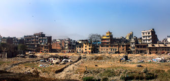 The building is dilapidated, overcrowded. Stagnant congested buildings will have waste and pollution problems Stock Photo