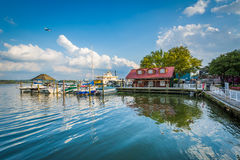 Building and docks on the Potomac River waterfront, in Alexandri Stock Images