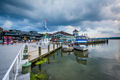 Building and docks on the Potomac River waterfront, in Alexandri Royalty Free Stock Photography