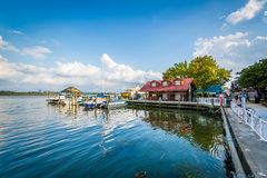 Building and docks on the Potomac River waterfront, in Alexandri Stock Photography