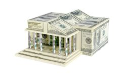 The building of dollar bills Royalty Free Stock Photo