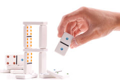 Building a Domino Tower Royalty Free Stock Image